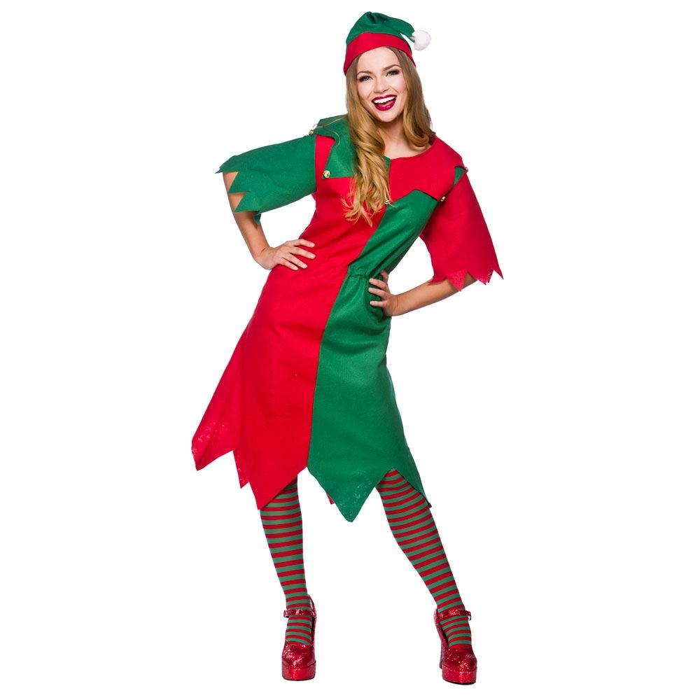 Ladies christmas elf santa claus xmas outfit womens fancy