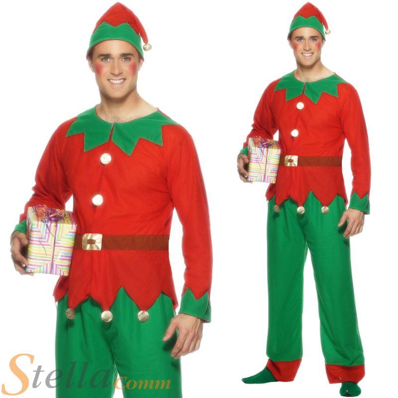 hombres elf ayudante de santa de navidad navidad disfraz y sombrero traje adulto