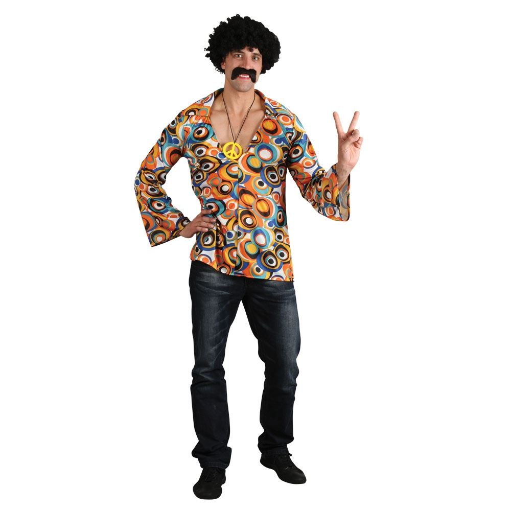 Mens Hippy Hippie 60s 70s Groovy Adult Fancy Dress Costume