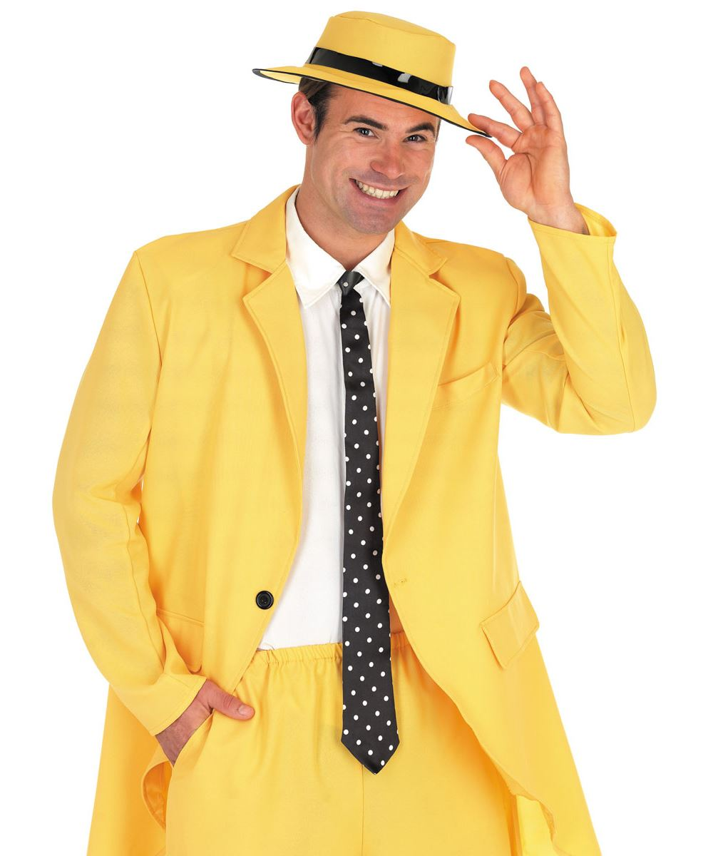 Mens Yellow Gangster Suit The Mask Fancy Dress Costume Jim Carrey ...
