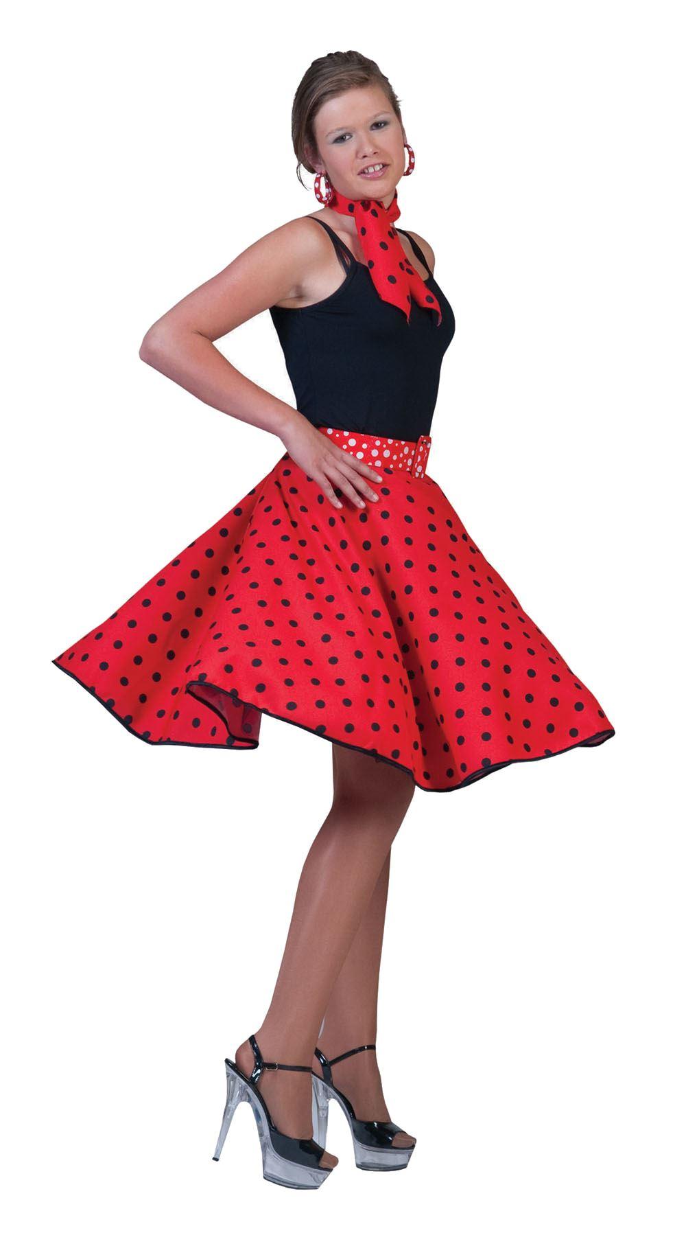 ladies polka dot rock n roll skirt scarf 50s 60s fancy. Black Bedroom Furniture Sets. Home Design Ideas