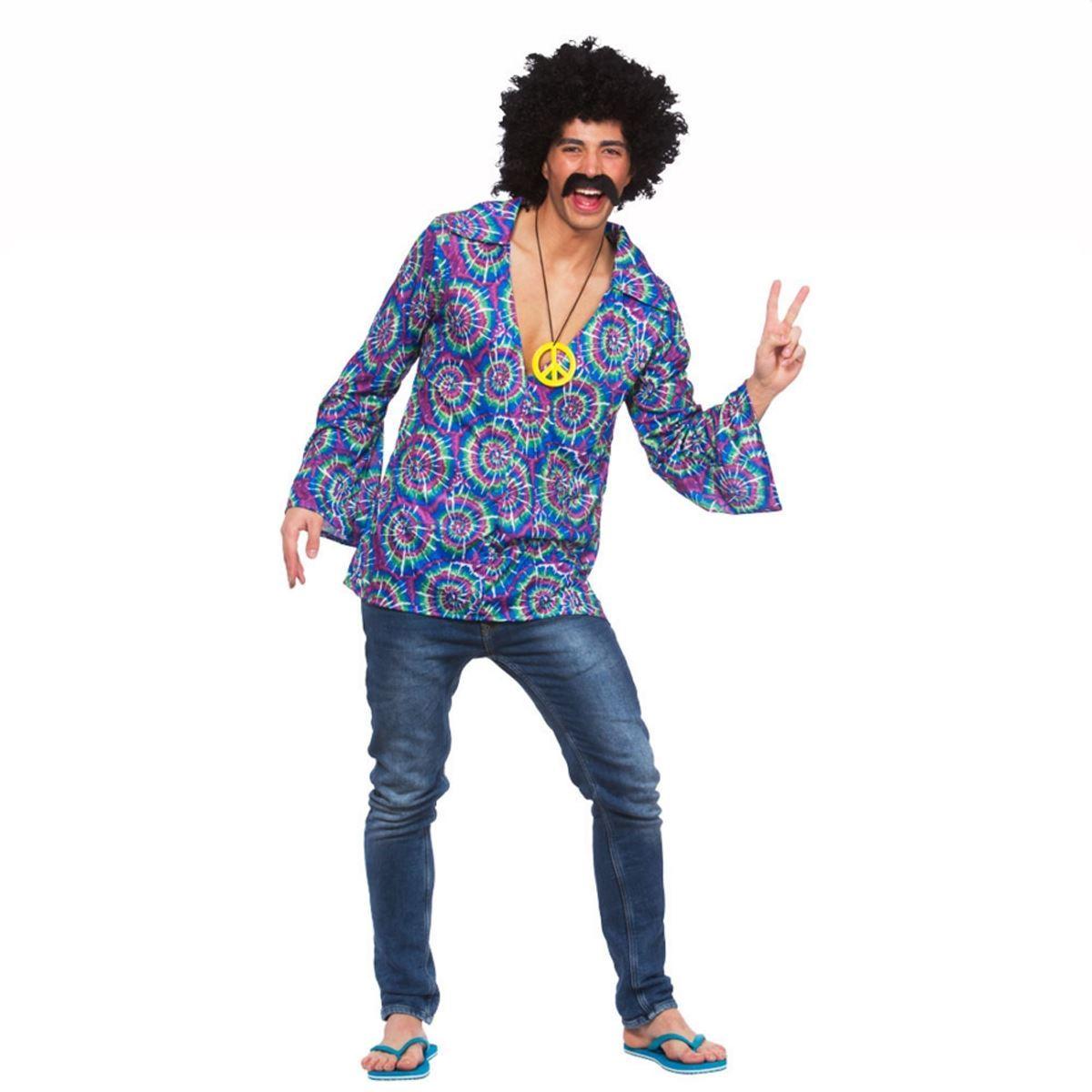 mens hippy hippie 60s 70s groovy adult fancy dress costume