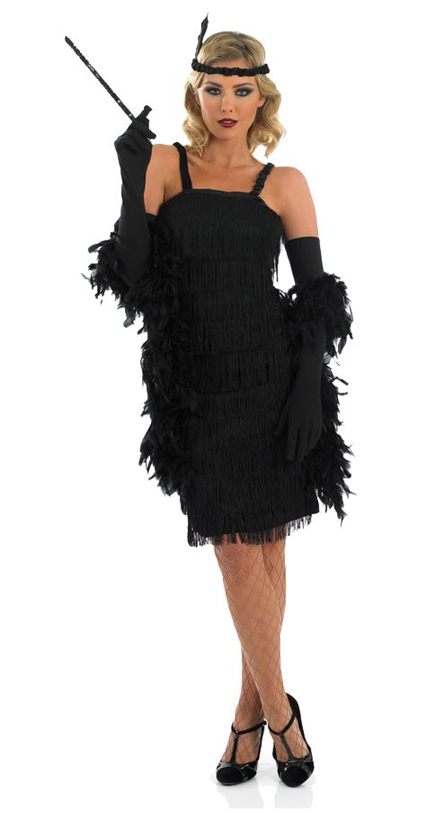 Charleston Flapper Fancy Dress Costume 20s 30s Gatsby Outfit + Gloves