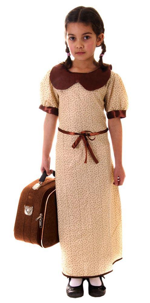 Girls-Evacuee-WW2-Wartime-30s-40s-Child-Book-Week-Fancy-Dress-Costume-Outfit