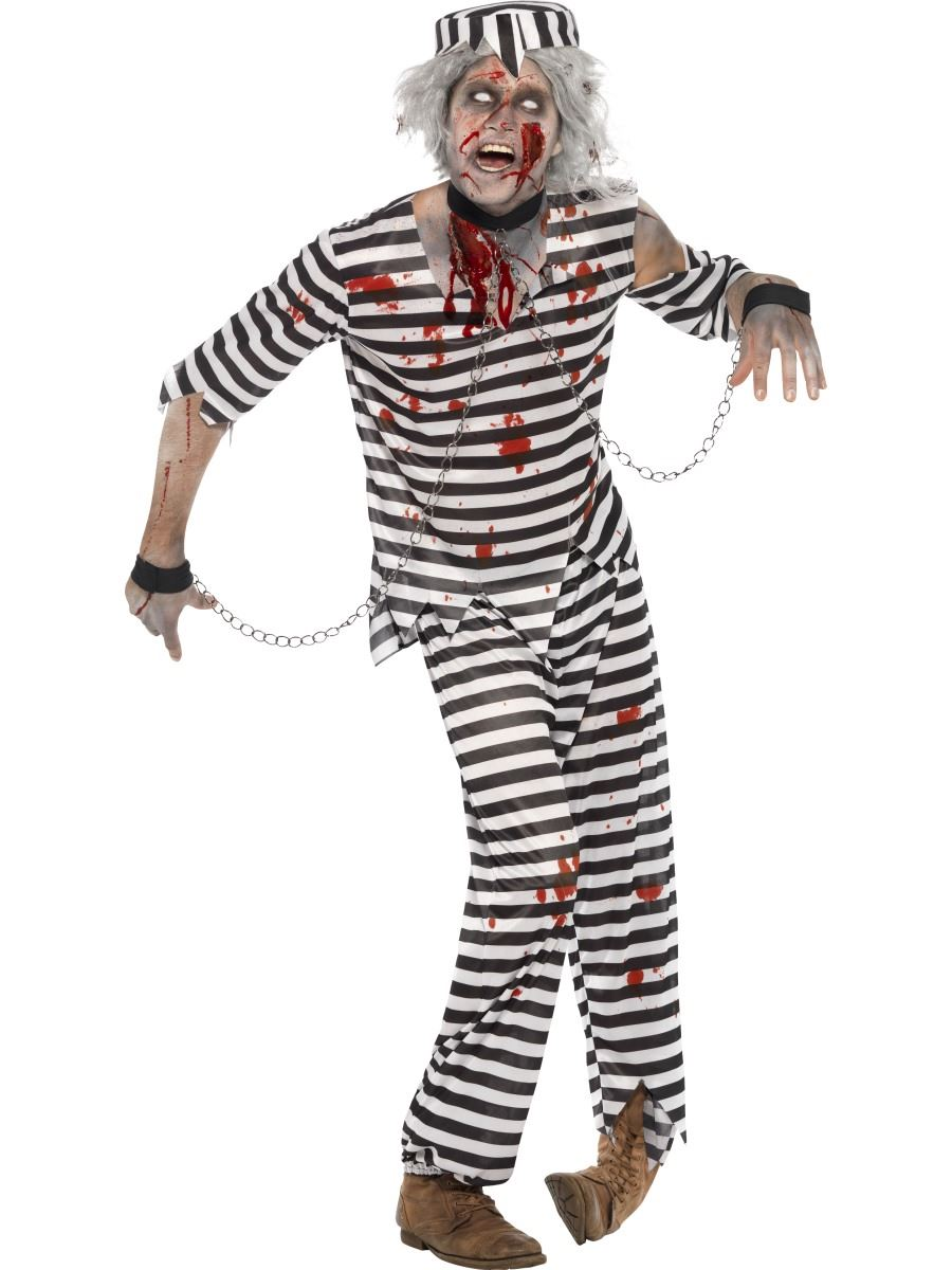 Mens-Zombie-Convict-Dead-Prisoner-Halloween-Fancy-Dress-  sc 1 st  eBay & Mens Zombie Convict Dead Prisoner Halloween Fancy Dress Costume ...