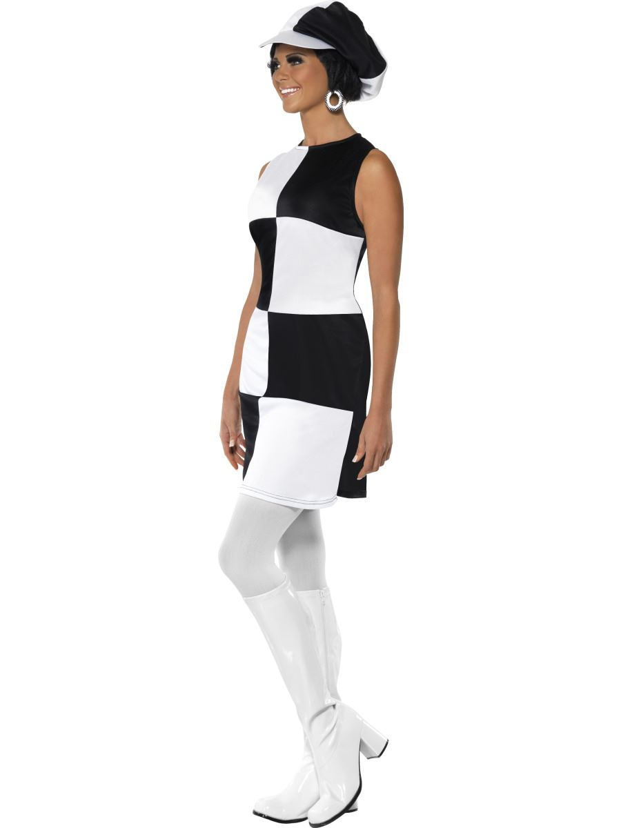 ladies black white party girl swinging 60s 70s disco fancy dress costume hat ebay. Black Bedroom Furniture Sets. Home Design Ideas