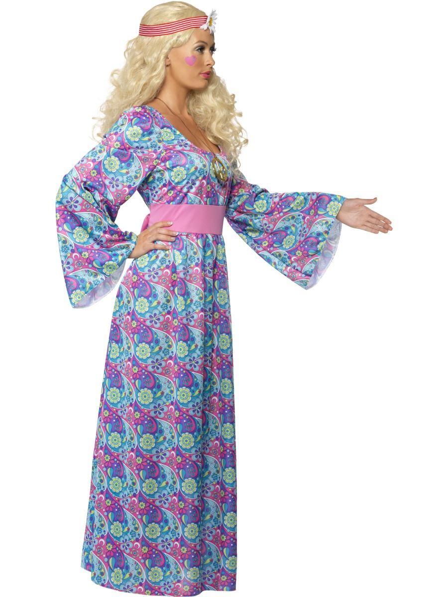 women flower child 60s 70s hippy maxi dress fancy dress. Black Bedroom Furniture Sets. Home Design Ideas