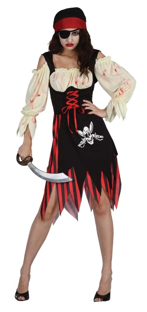 Ladies-Adult-Zombie-Pirate-Sailor-Caribbean-Halloween-Fancy-Dress-Costume-Outfit
