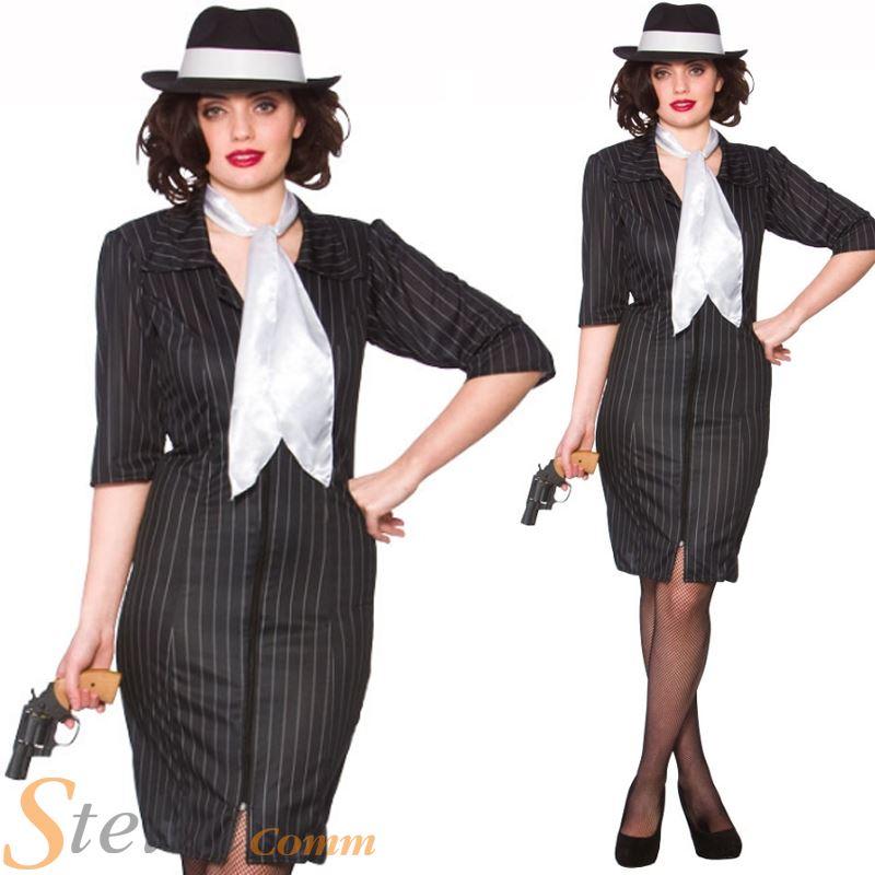 ladies gangster gal 1920s 30s moll costume pinstripe