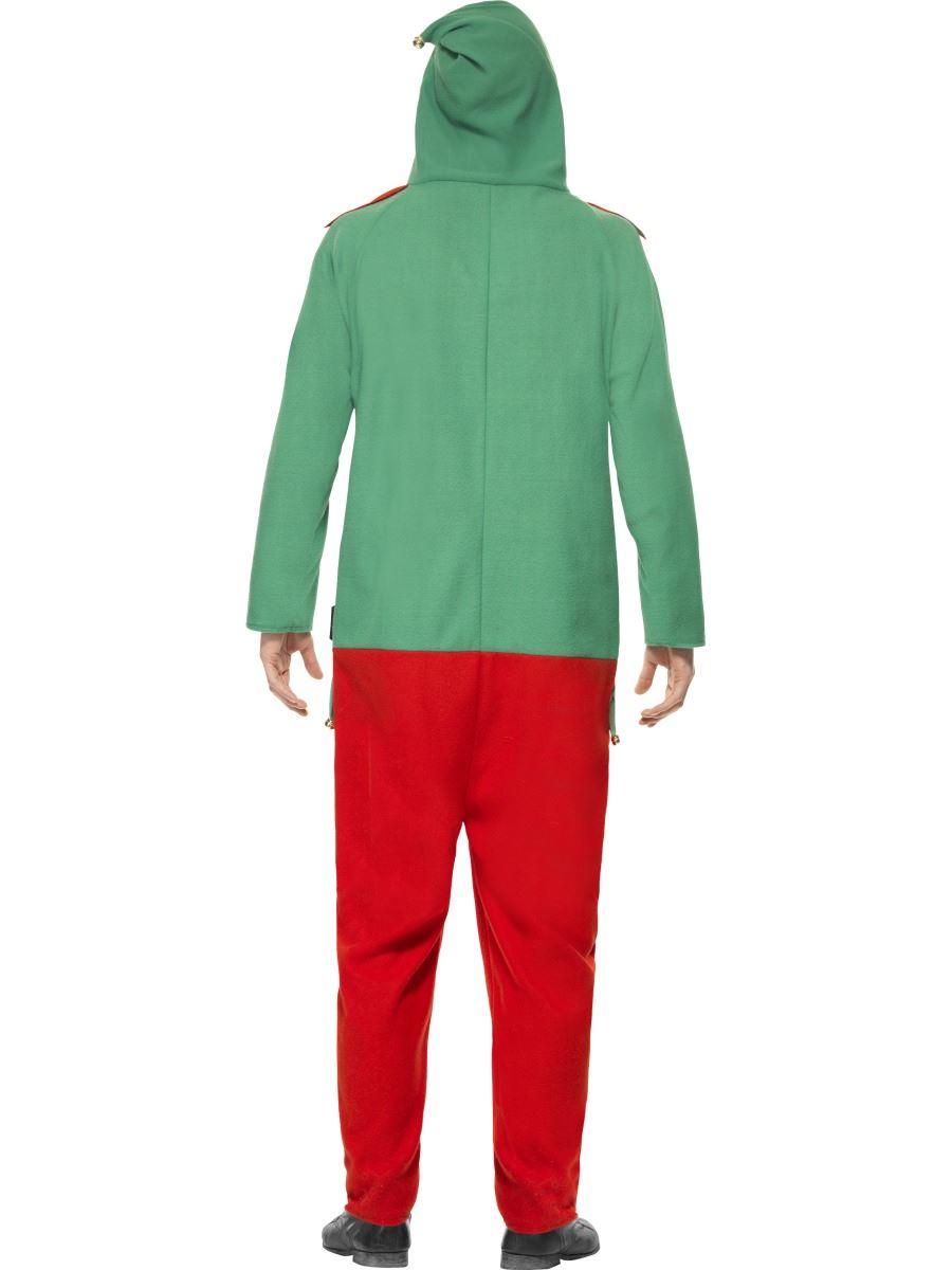 Mens Elf Onesie Jumpsuit Santa Helper Christmas Fancy Dress Costume Adult Outfit