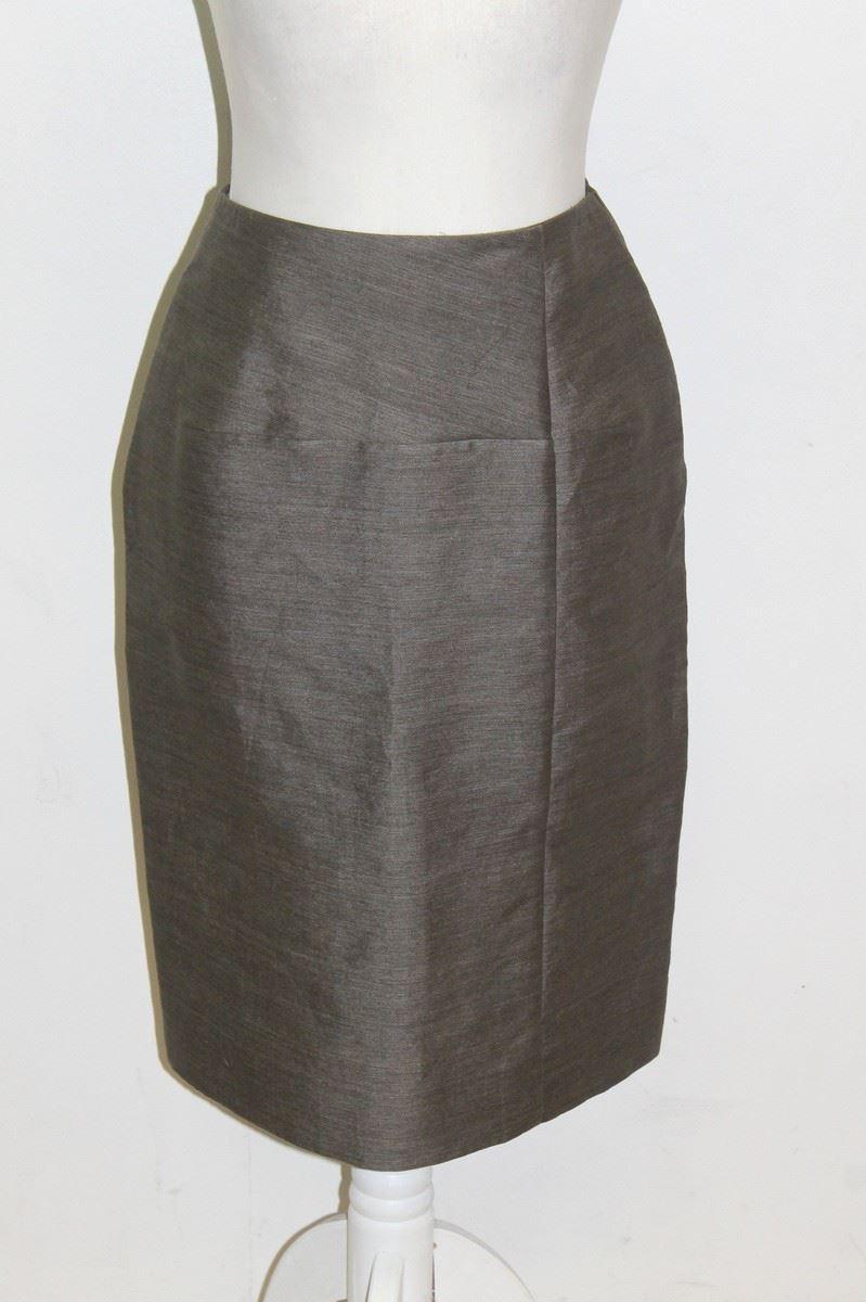 marni khaki grey linen high waisted knee length