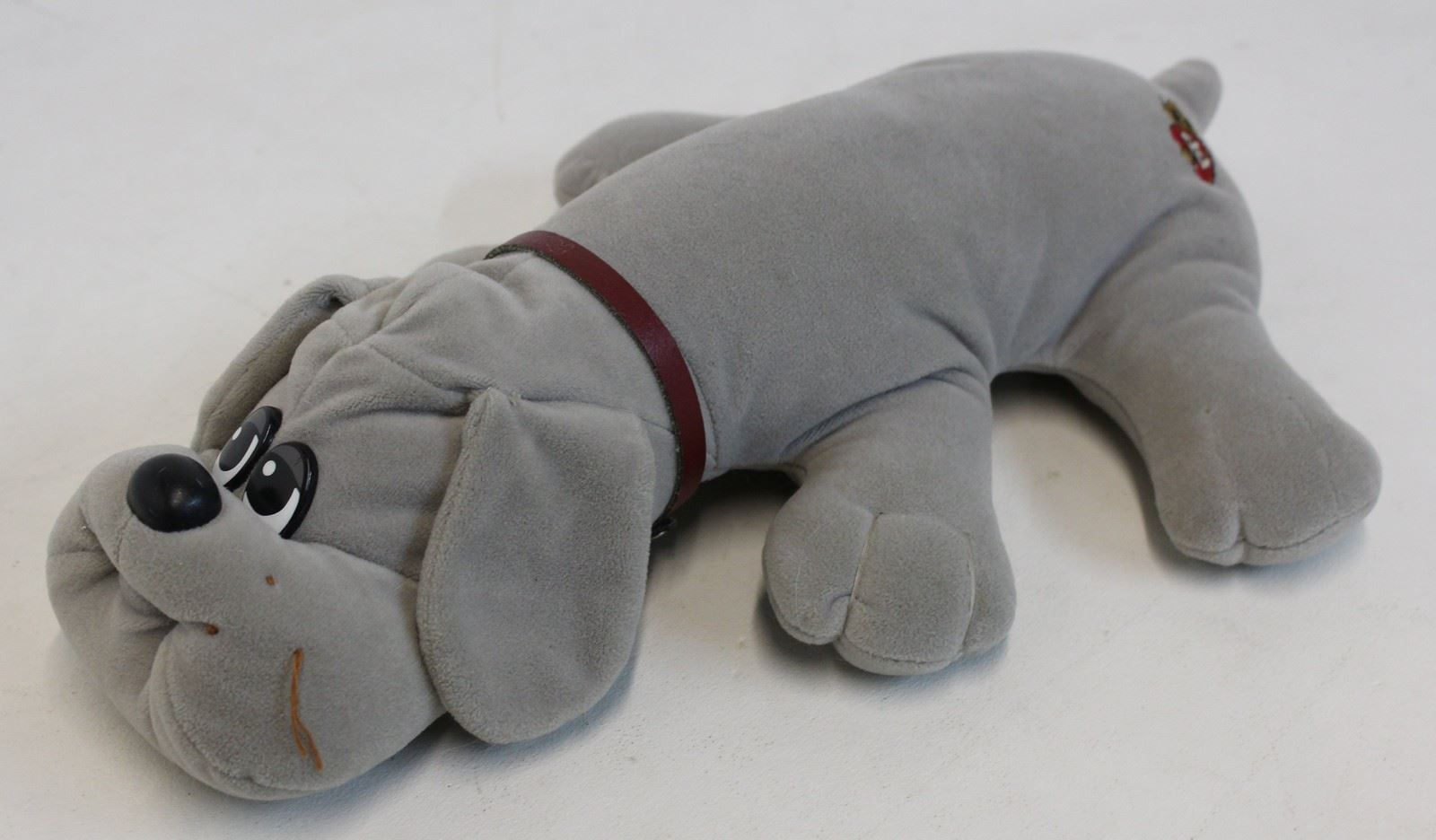 POUND PUPPY Vintage Teddy Bear Dog Rare Gray Collar 1980s Childs