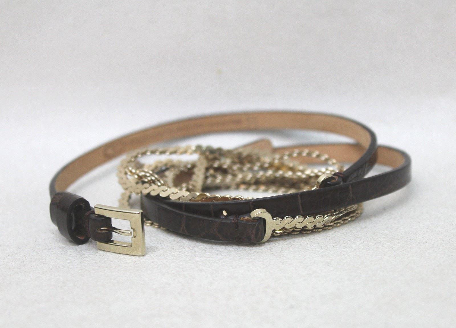 valentino garavani brown leather golden chain
