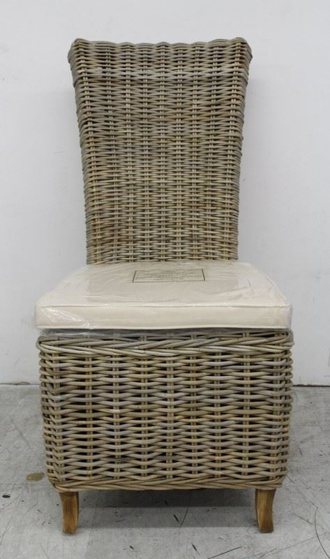 NEW SUSTAINABLE FURNITURE Latifa Natural Wicker Kubu Grey Garden Dining Chair
