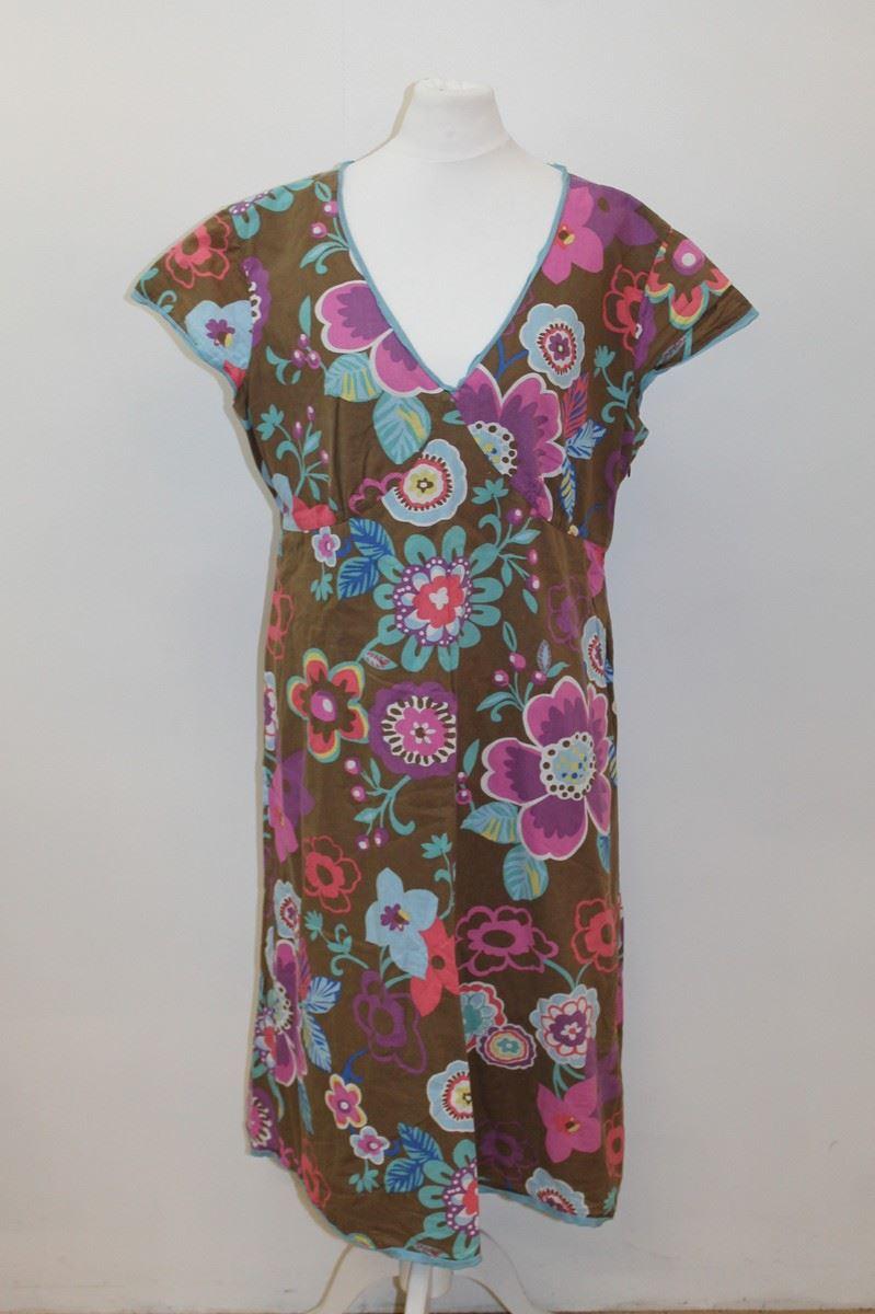 Boden ladies brown cotton short sleeve floral print tea for Boden fashion deutschland
