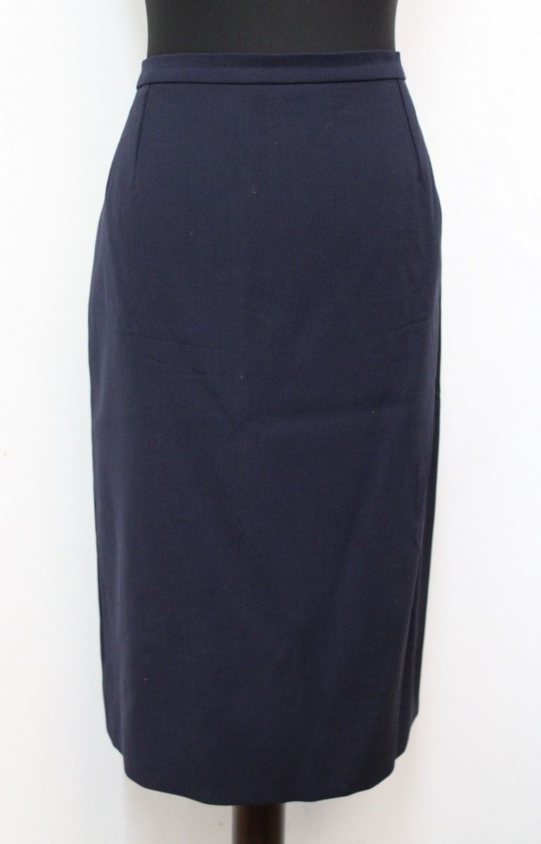 navy blue knee length high waisted pencil