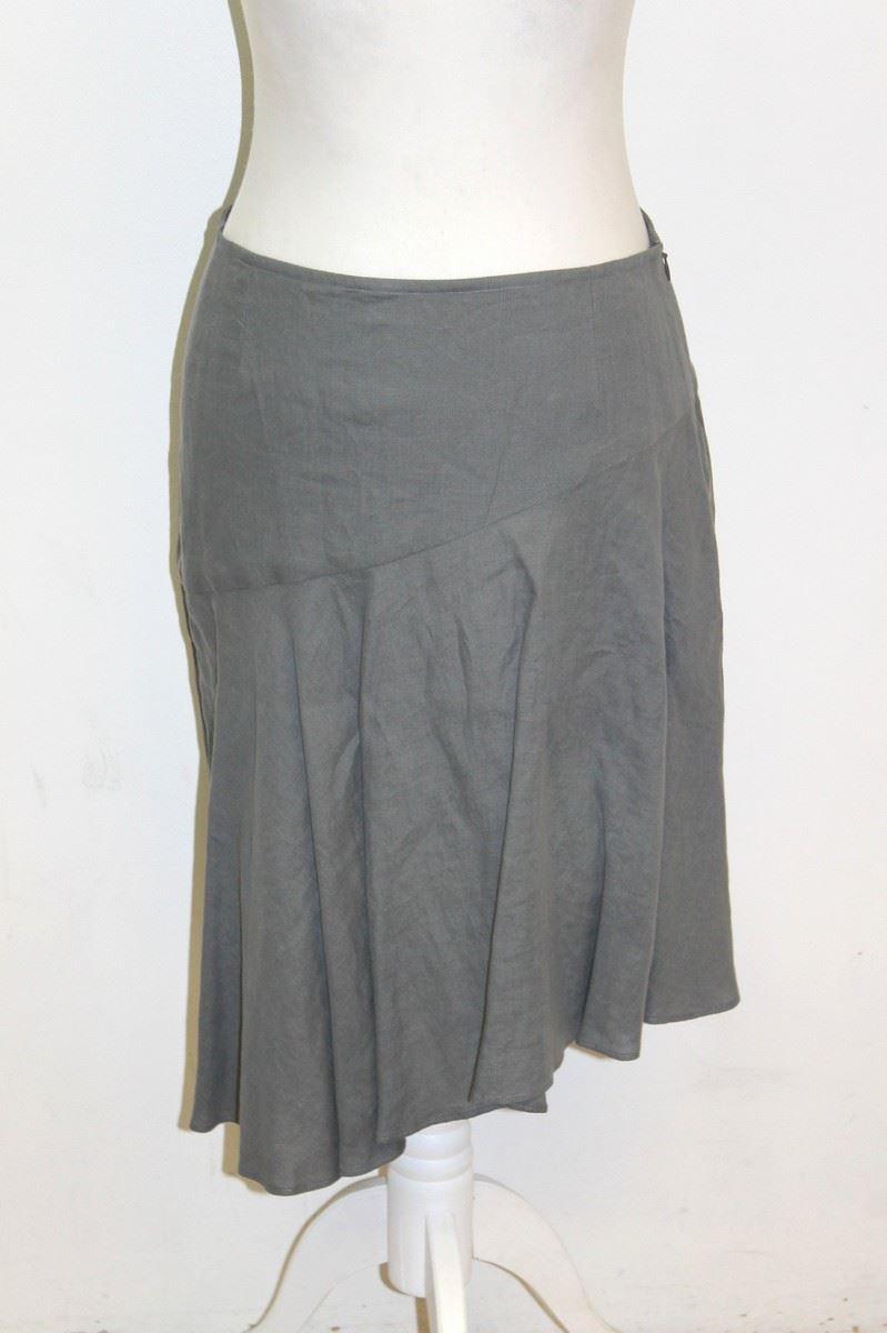 agnes b grey linen asymmetric hem knee length