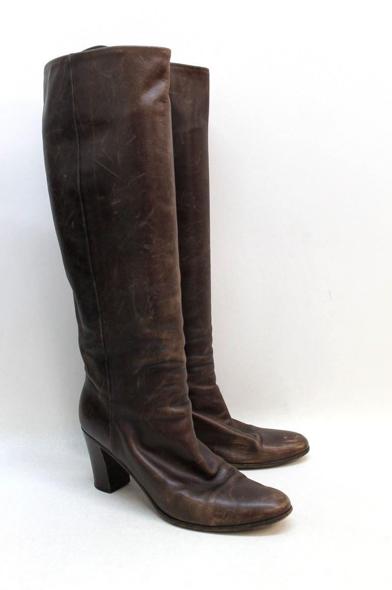 maison martin margiela brown leather knee high