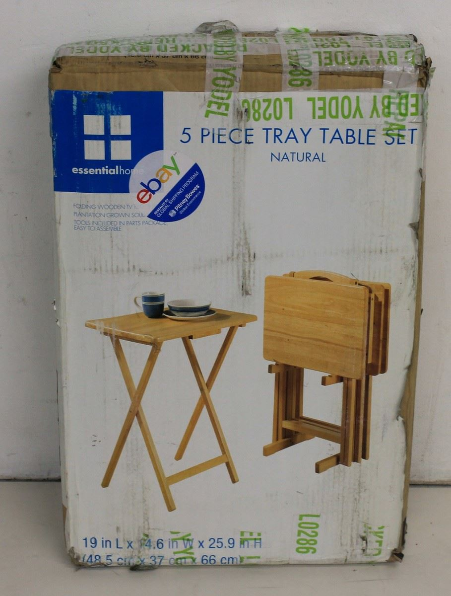 Bnib Essential Home 5 Piece Natural Wooden Folding Tray Table Set Furniture Ebay