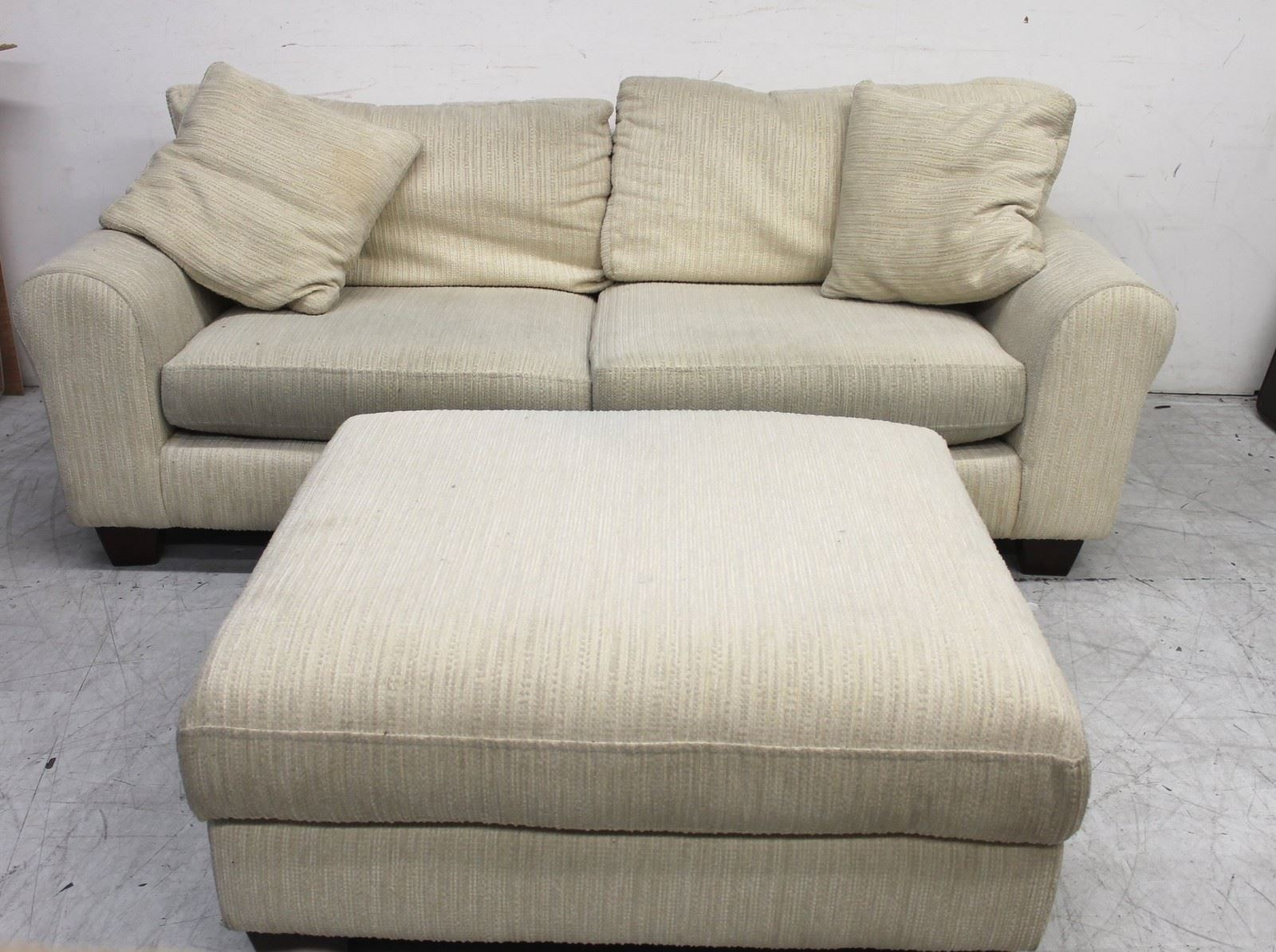 2 3 Seater Textured Cream Fabric Upholstered Sofa With