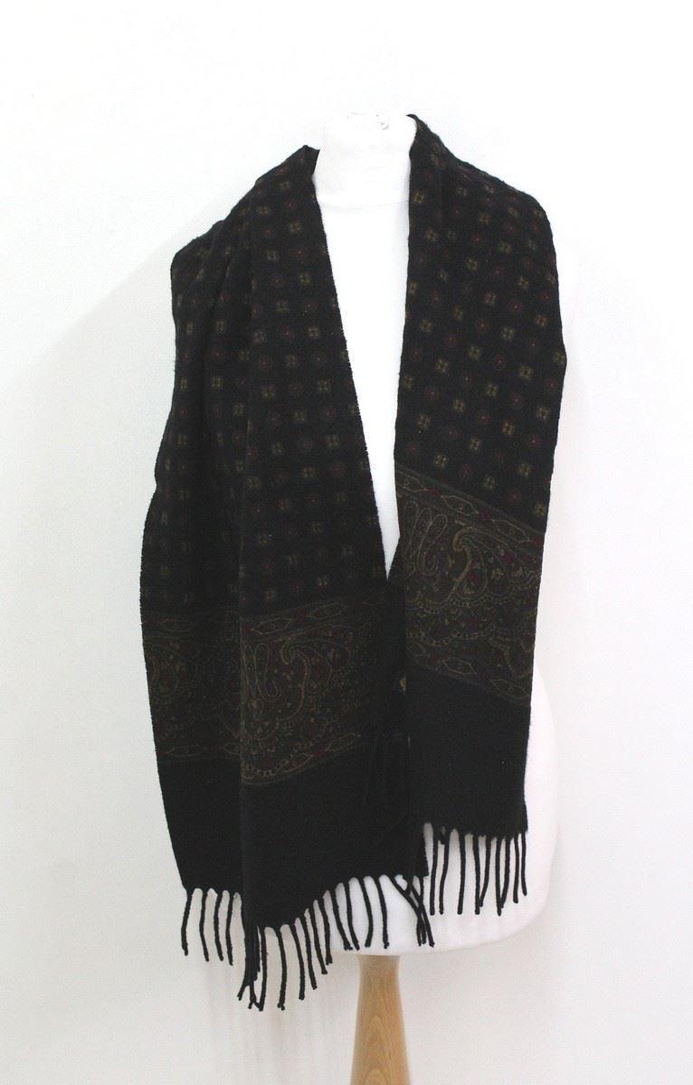 LORO PIANA Ladies Black Extra Fine Knitted Ornamental Pattern Cashmere Scarf ...
