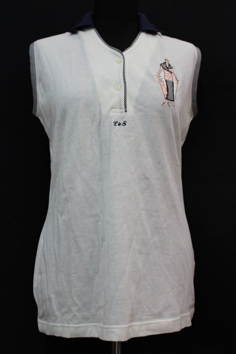 Lyle scott ladies white pure cotton sleeveless polo shirt for Polo shirt with undershirt