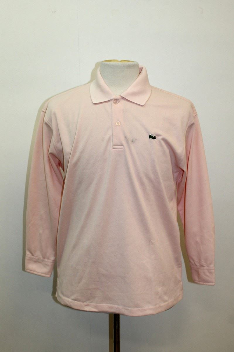 Lacoste men 39 s pink cotton long sleeve collared casual polo for Longer length mens polo shirts