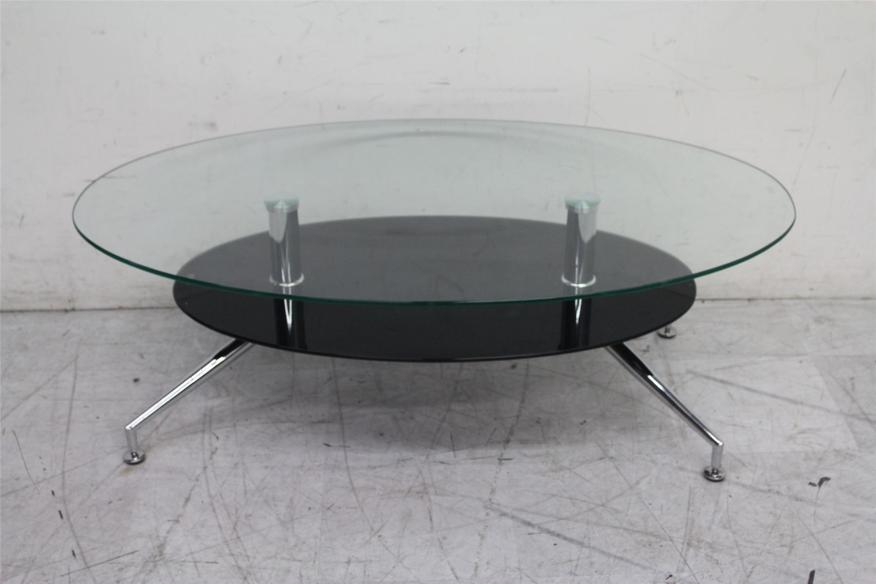 Modern Low Tempered Glass Coffee Oval Table With One Shelf And Four