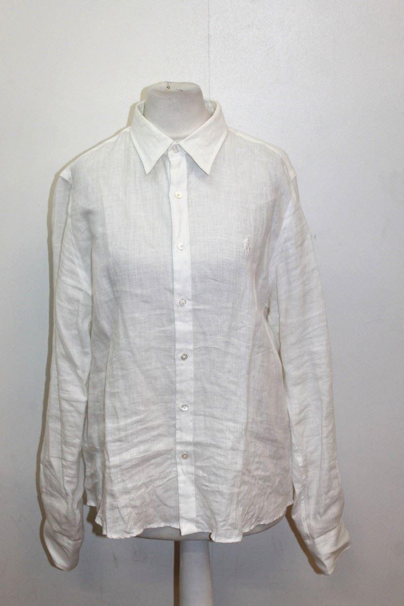 Ralph Lauren Golf Ladies White Linen Long Sleeve Collared
