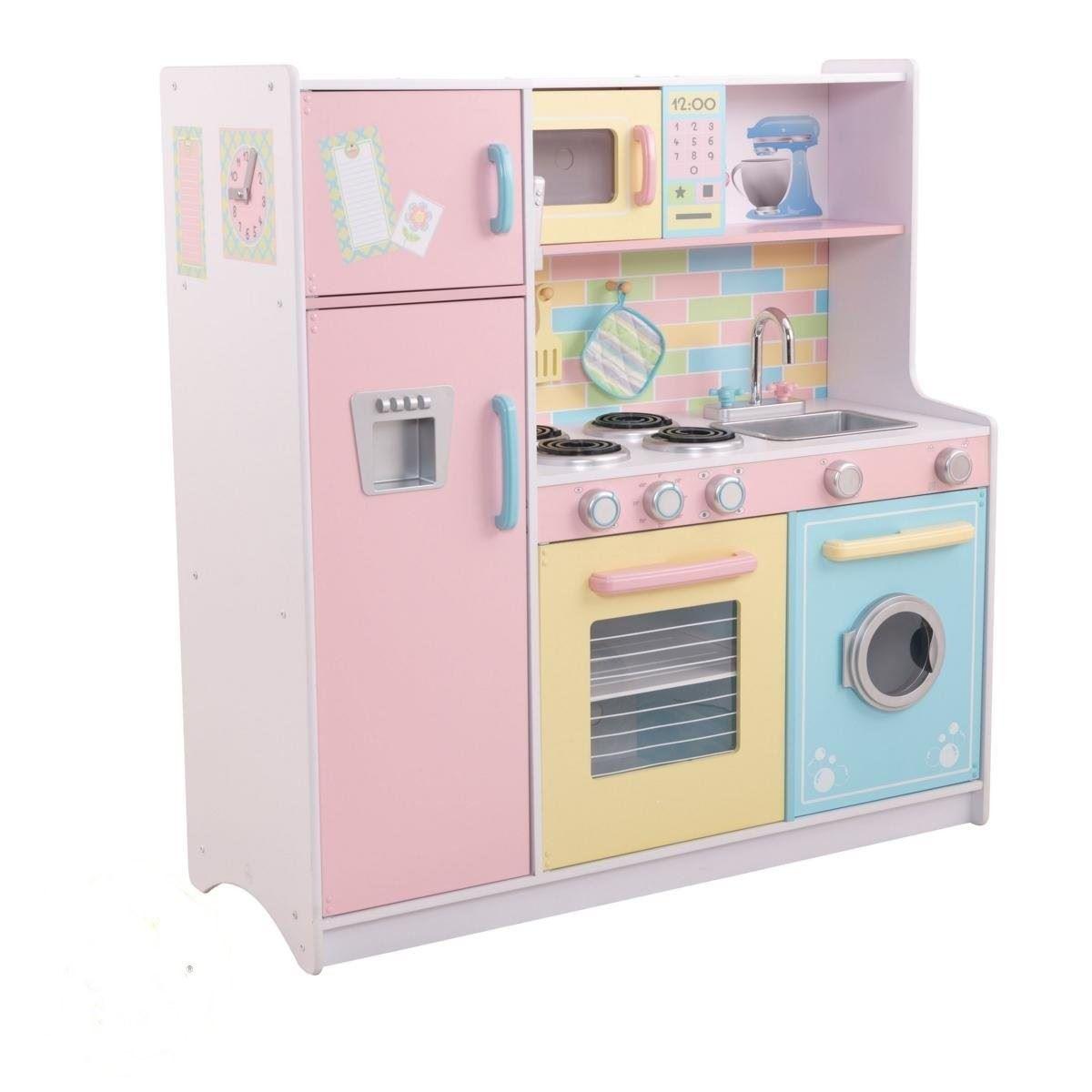 Kidkraft large wooden toy pastel kitchen w fridge washing for Childrens kitchenette
