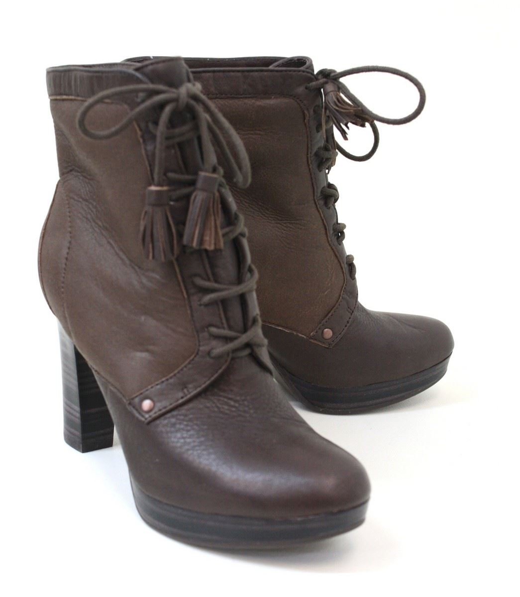 new ugg chocolate brown lace up block heel leather ankle