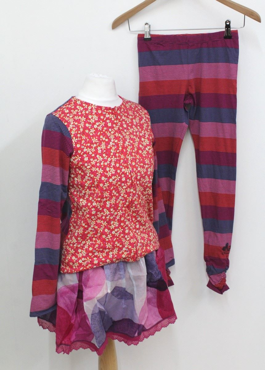 NEW CATIMINI Girls' Colourful Striped & Floral Skirt Trousers Top Set 12 Years