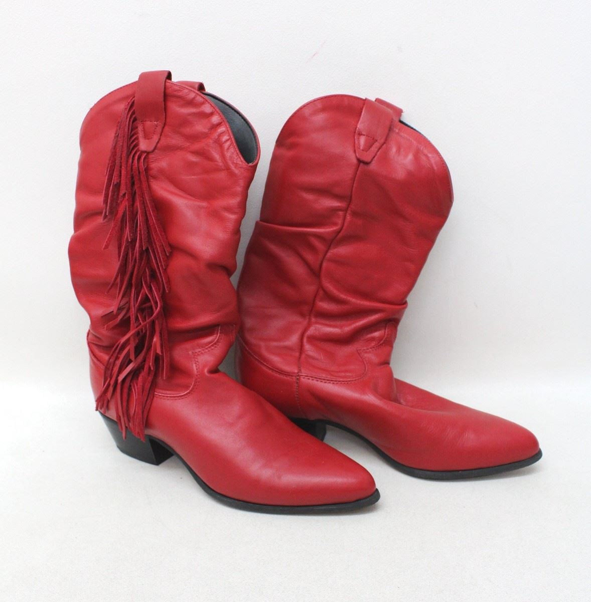 Rodeo Drive Ladies Red Leather Pointed Mid Calf Fringed