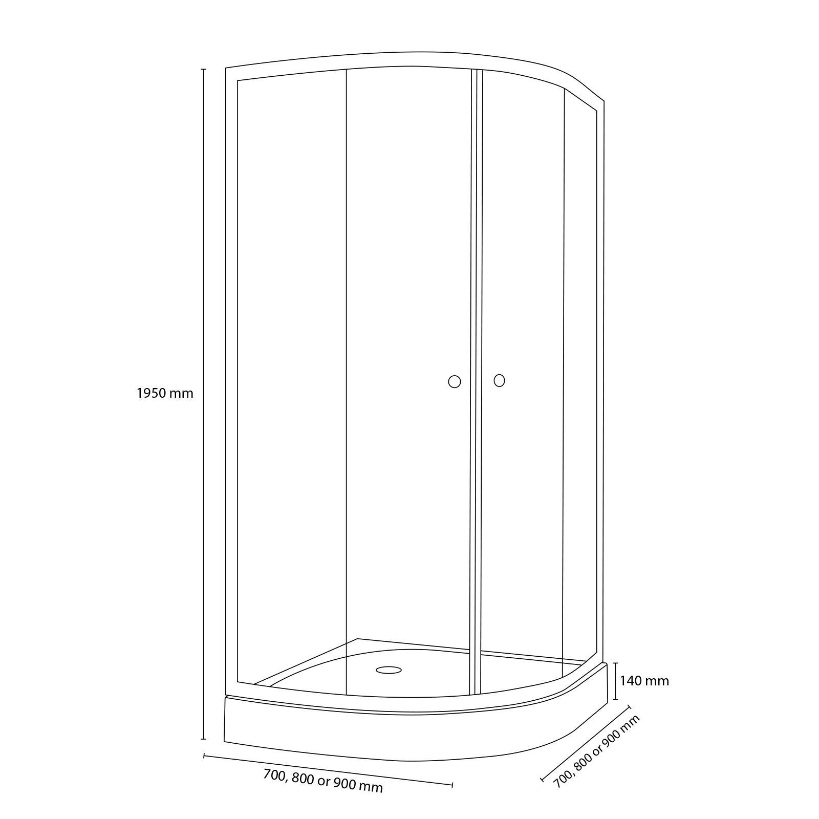 Quadrant Shower Enclosure White Or Silver 700 800 900mm