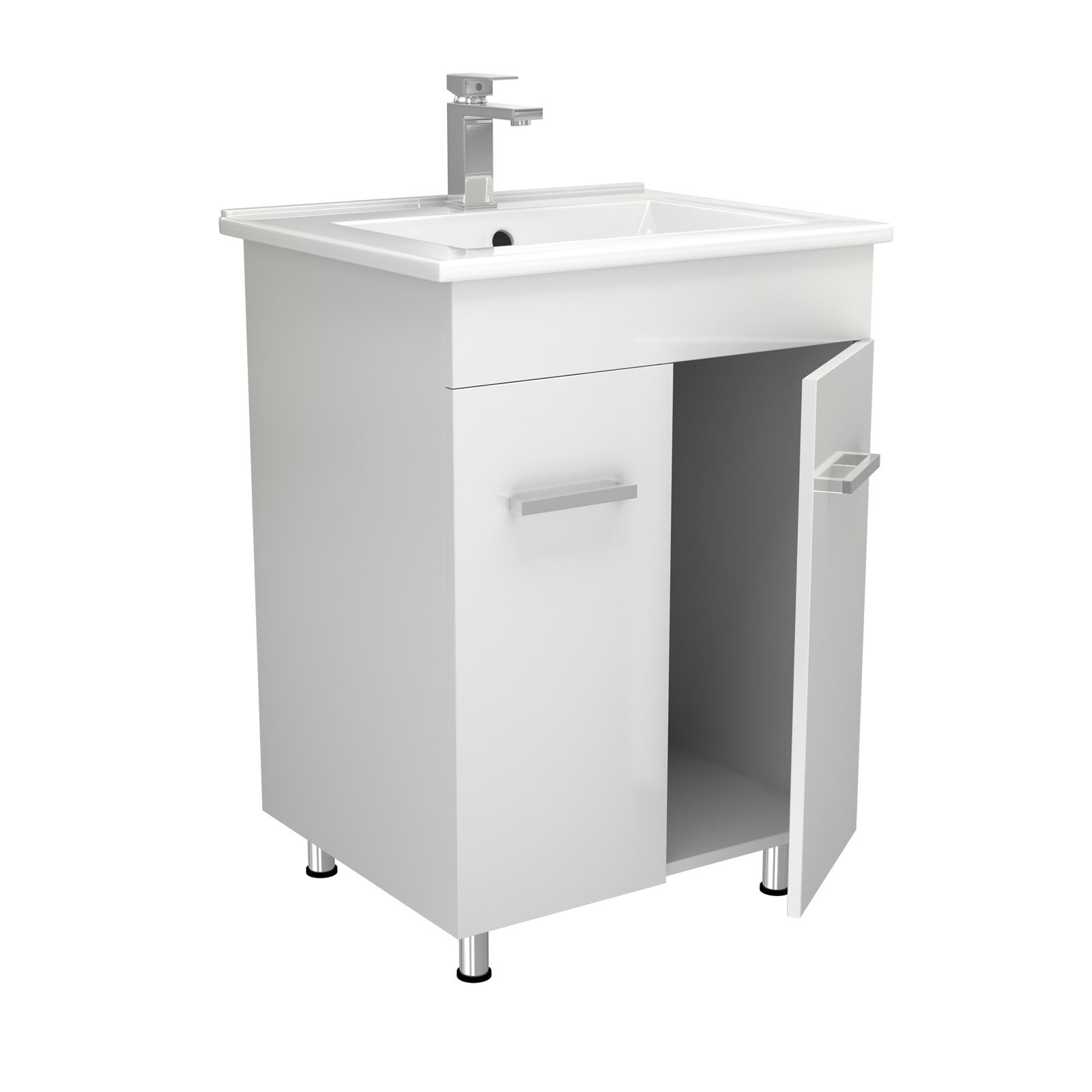 Modern High Gloss White Bathroom Furniture Vanity Storage Unit With Basin Sink Ebay