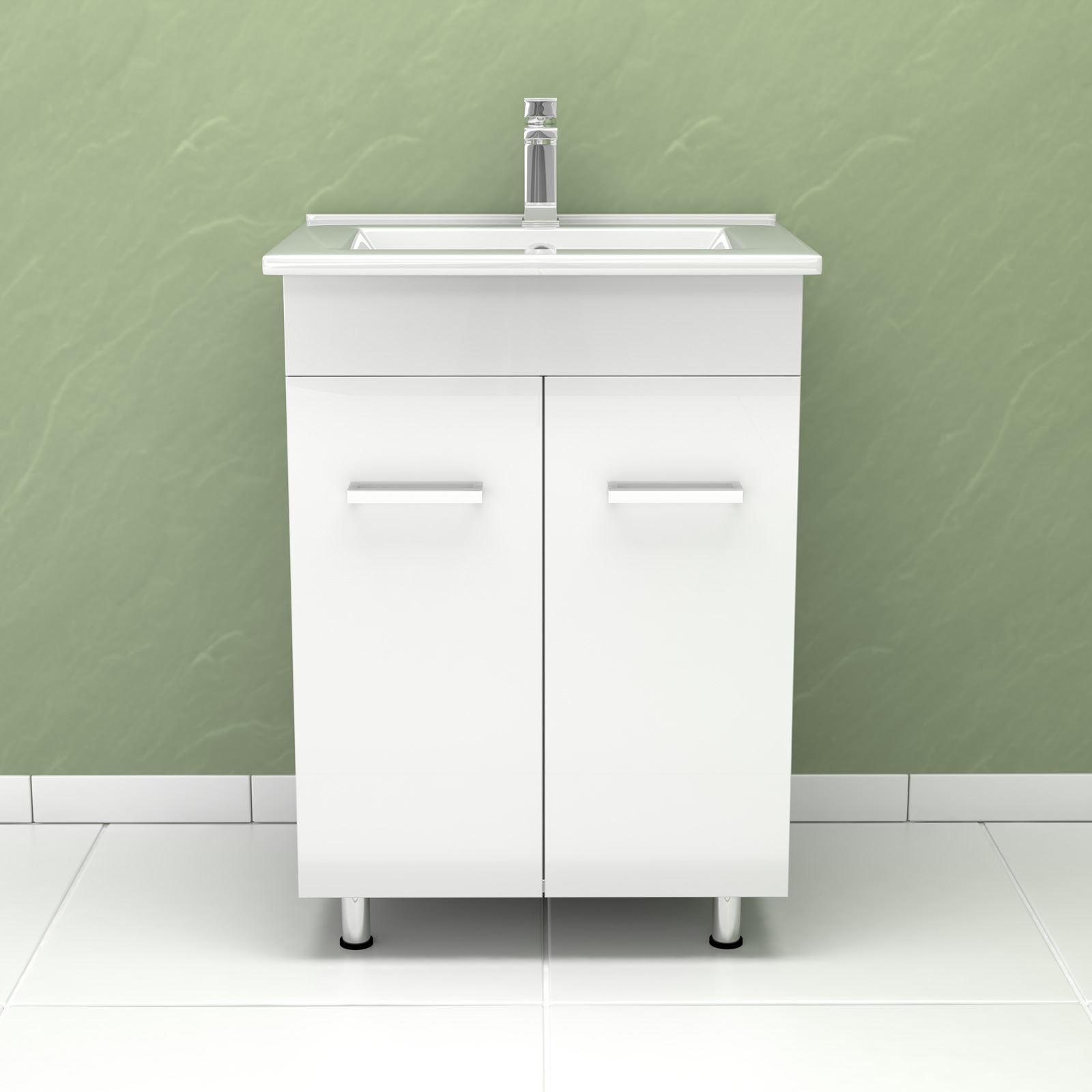 New Bathroom Furniture Set High Gloss Bathroom Mirror Cabinet Sink LED