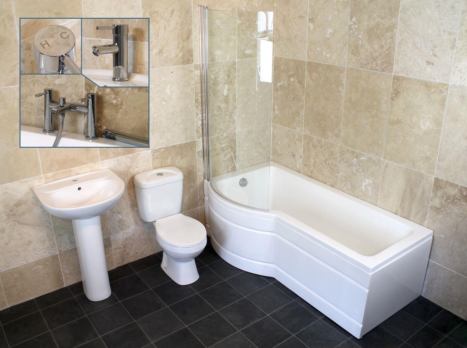 P shape bathroom suites - Complete 1500mm Or 1700mm P Shape Shower Bath