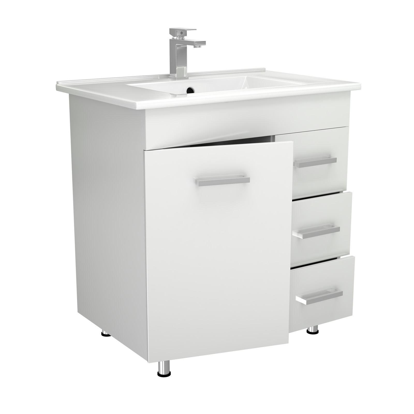 New Quartet Designer High Gloss Grey Bathroom Furniture  Square Closed