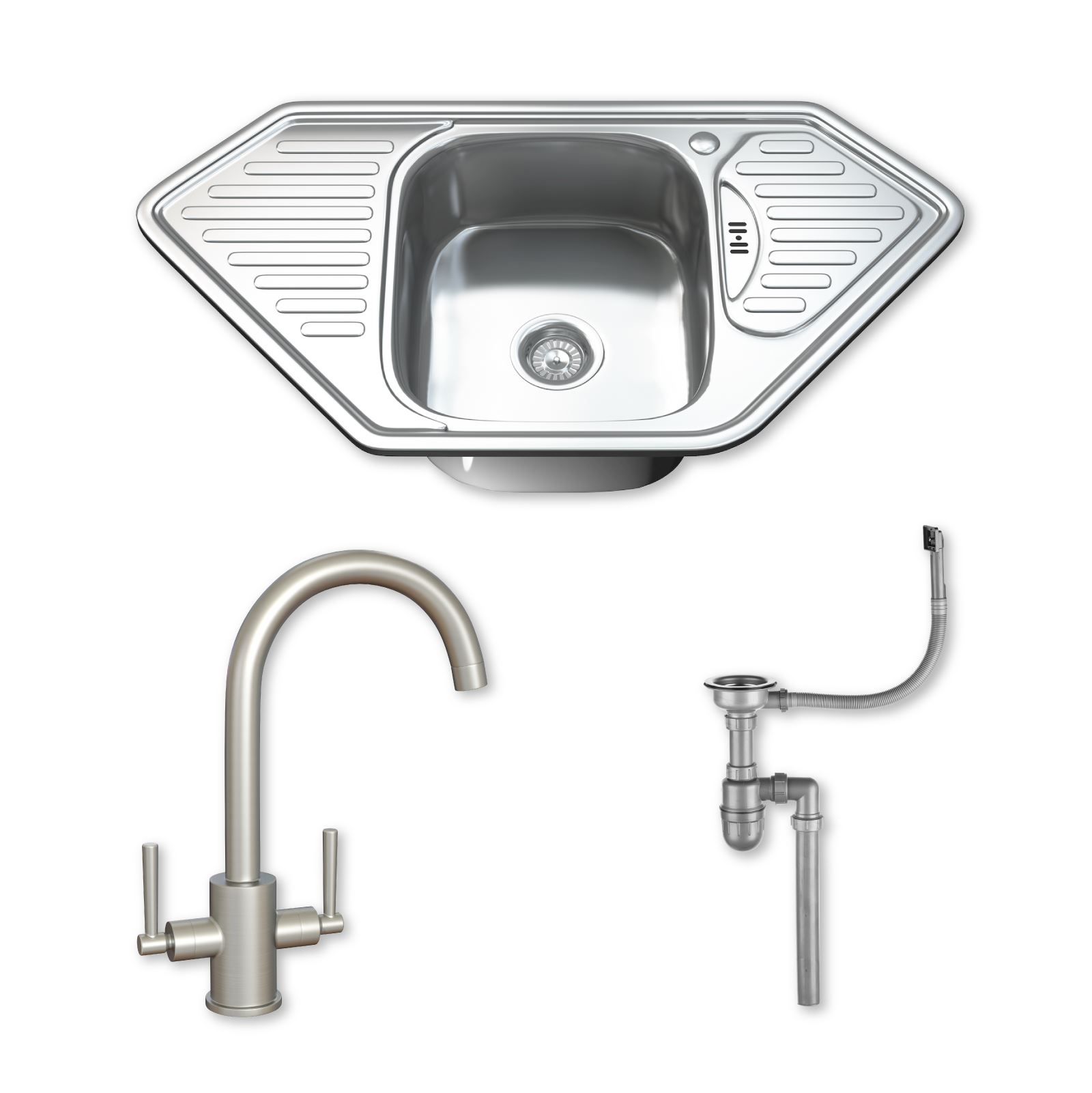 Details about 1.0 Single Corner Bowl Stainless Steel Kitchen Sink, Tap ...