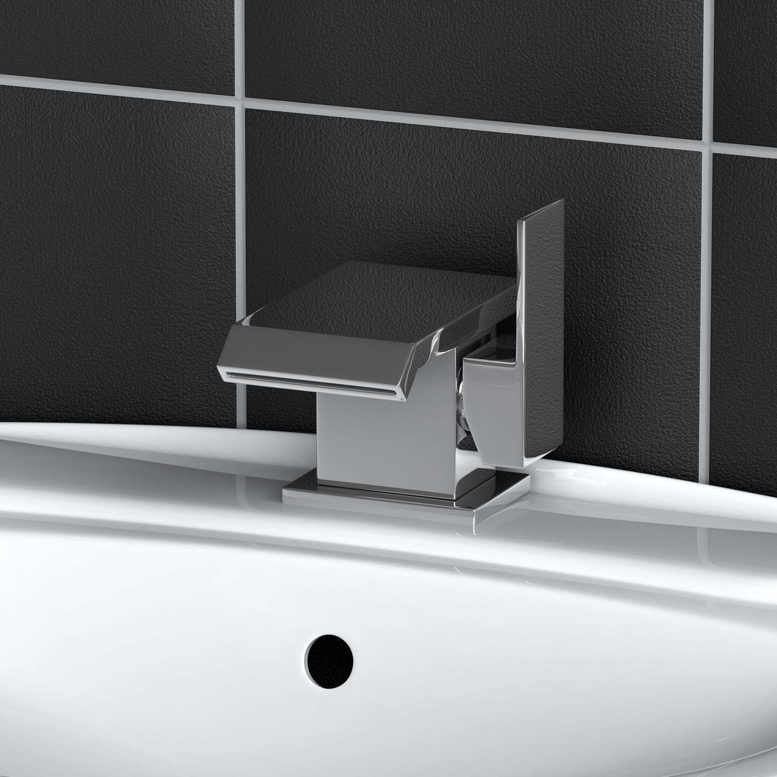 Wp01 chrome modern waterfall monobloc bathroom sink basin for Bathroom sink lever taps