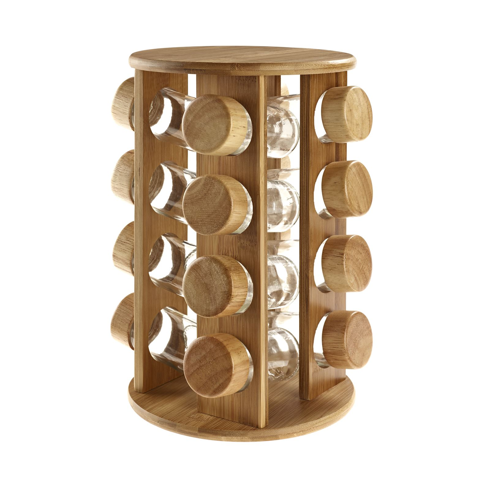 Woodworking Plans For Kitchen Spice Rack: Wooden Rotating Revolving Bamboo Spice Rack Glass Jars
