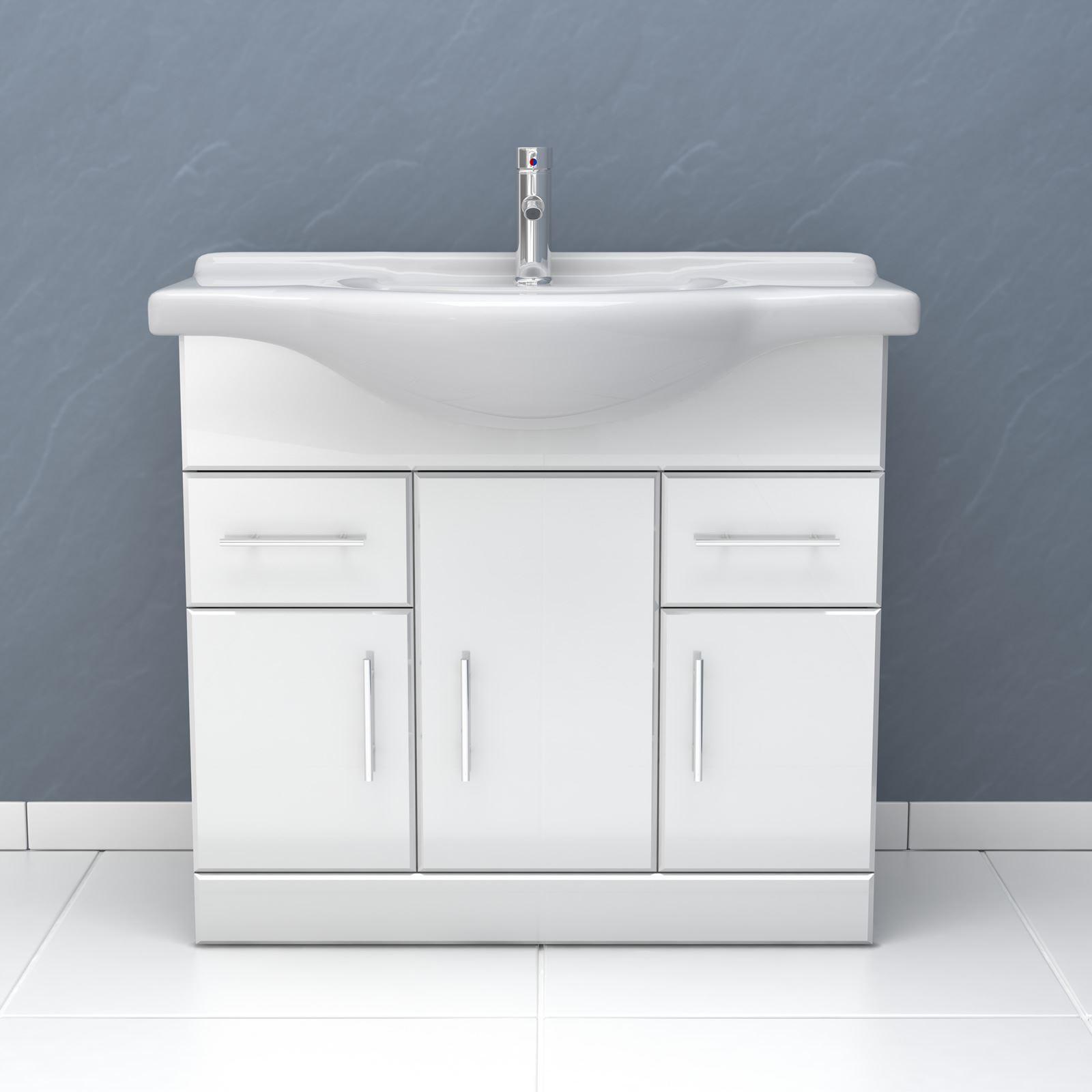 Alaska High Gloss White Vanity Unit Bathroom Suite