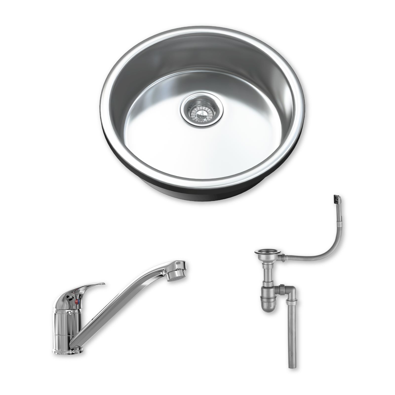 1.0 Single Bowl Stainless Steel Kitchen Sink with Tap, Drainer & Waste 1091
