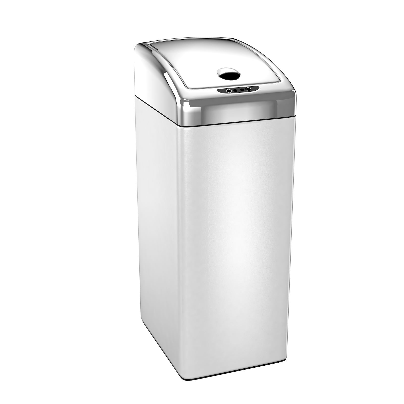 Kitchen Waste Bins: 45L Oblong White Black Red Silver Steel Sensor Kitchen