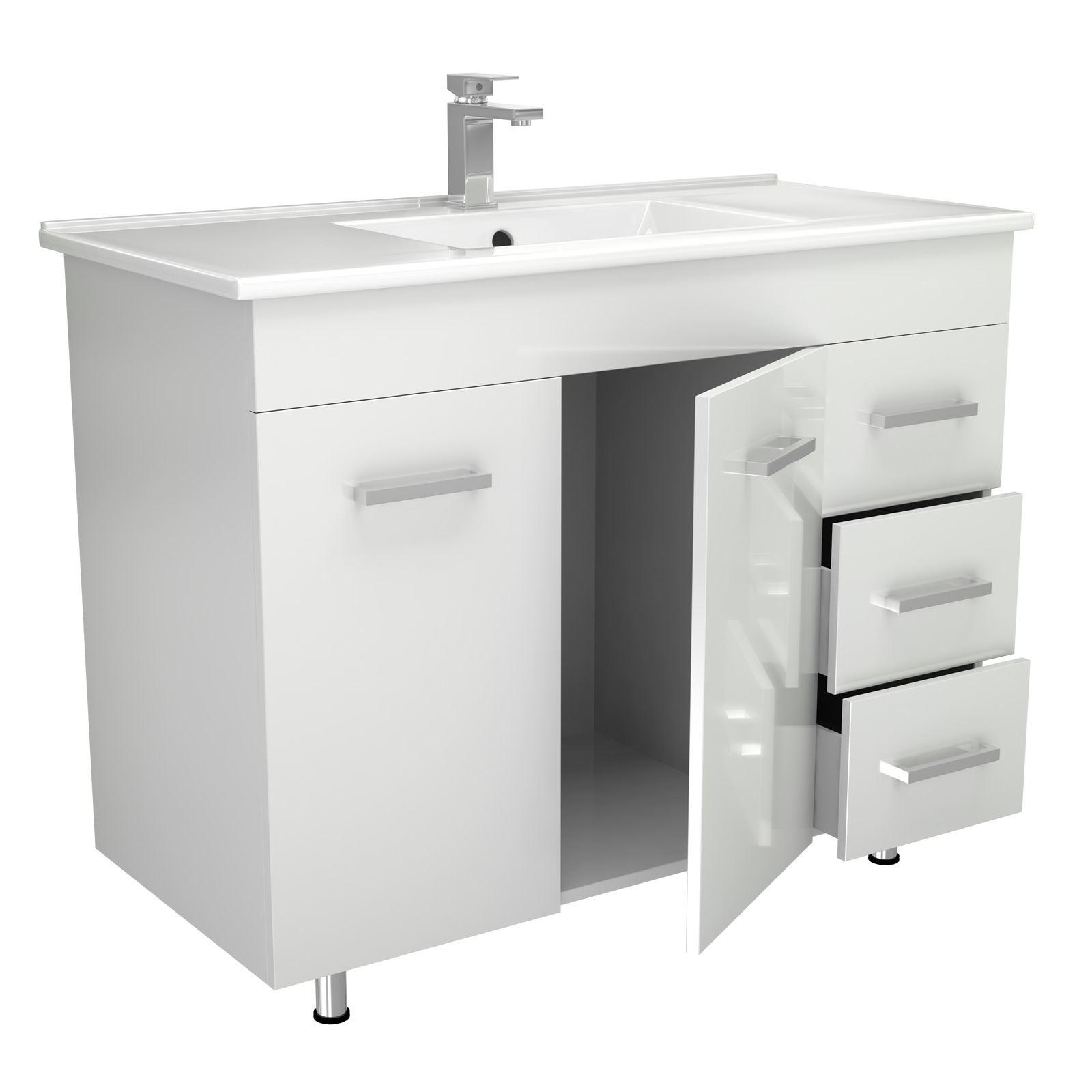 Modern high gloss white bathroom furniture vanity storage - White gloss bathroom vanity unit ...