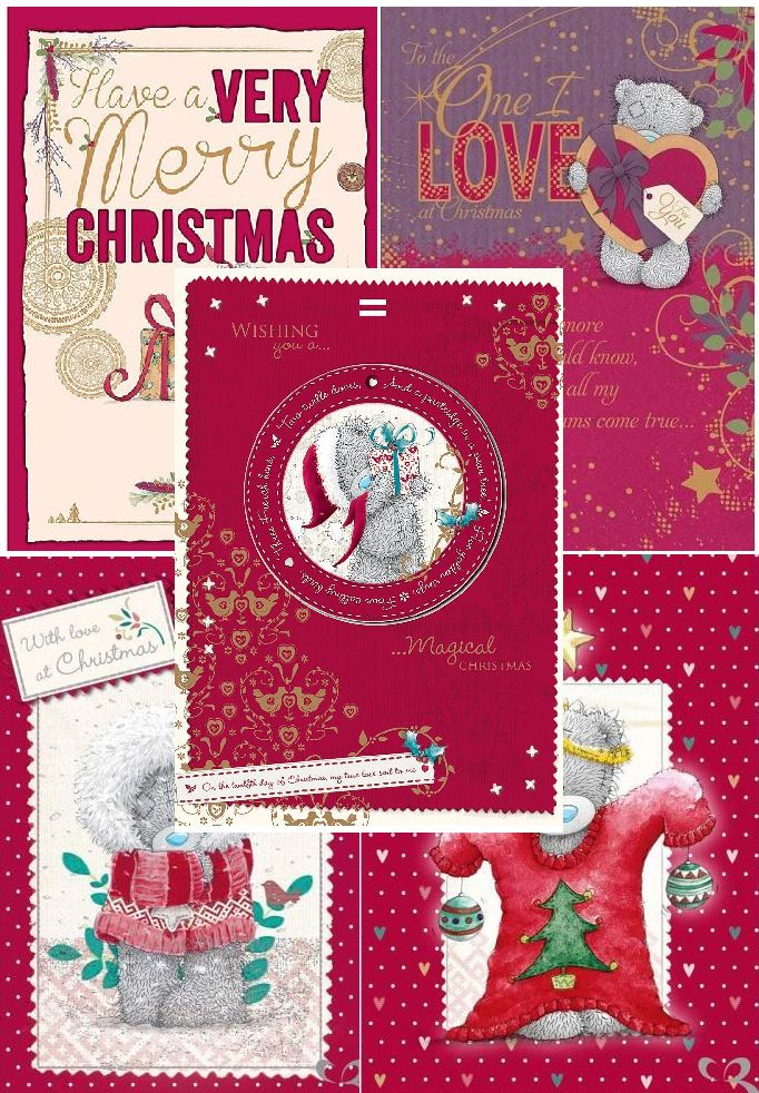 Me to You Christmas Cards Packs of 25 - Variety of 5 x 5 Tatty Teddy Card Packs