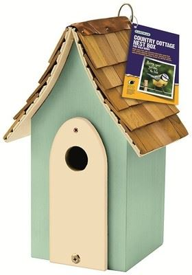 Country cottage nest box with red cedar tiles roof. Choose Green or Pink