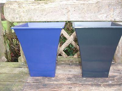 Contemporary design metallic effect fluted planter medium size. Plastic.