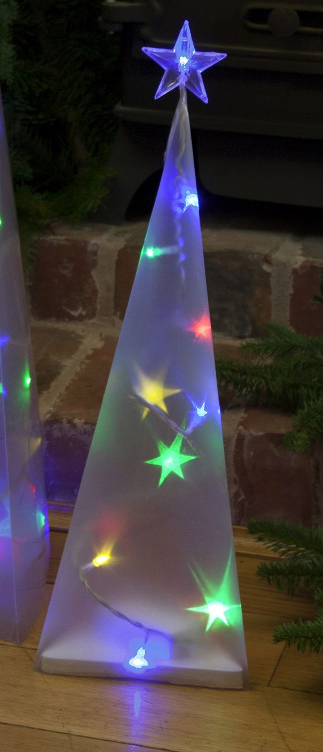 50cm holographic pyramid tree with led lights white or multi coloured ebay. Black Bedroom Furniture Sets. Home Design Ideas