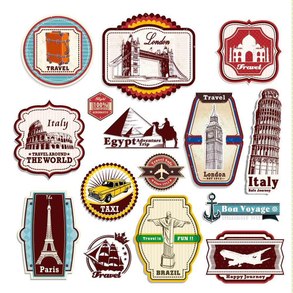 Retro Vintage Travel Suitcase Stickers - Set of 15 Luggage ...